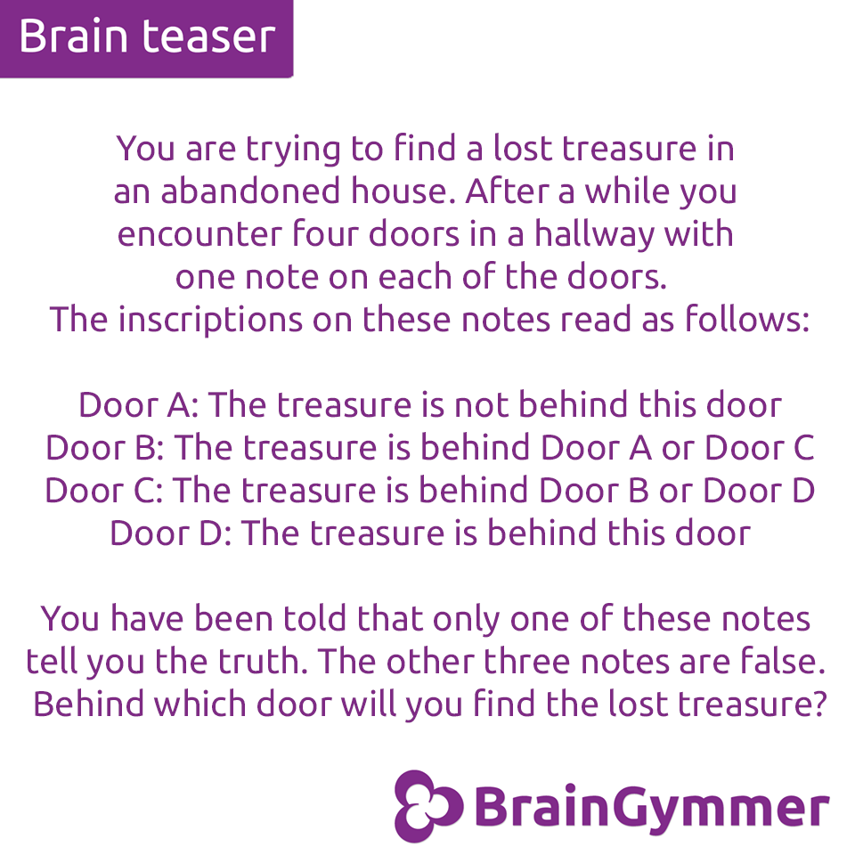BrainGymmer brain teaser solution find the door with the lost treasure
