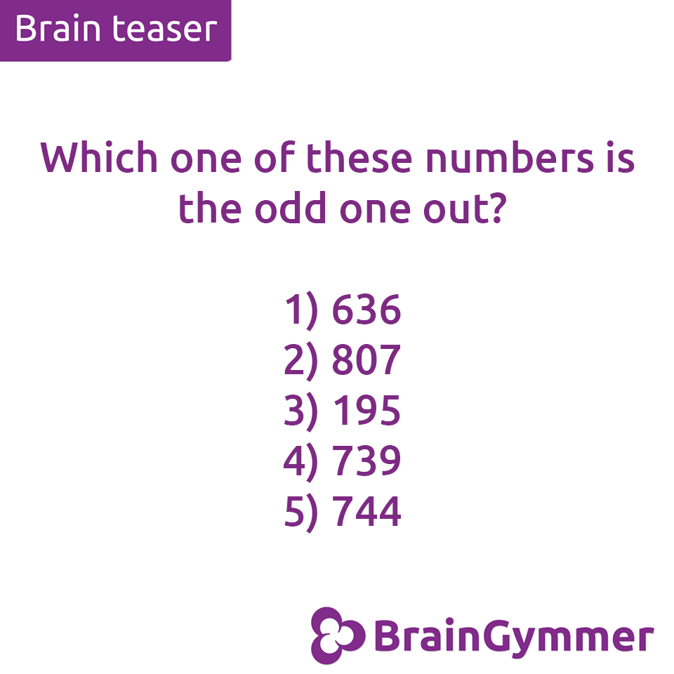BrainGymmer Brain Teaser Which Number Is The Odd One Out