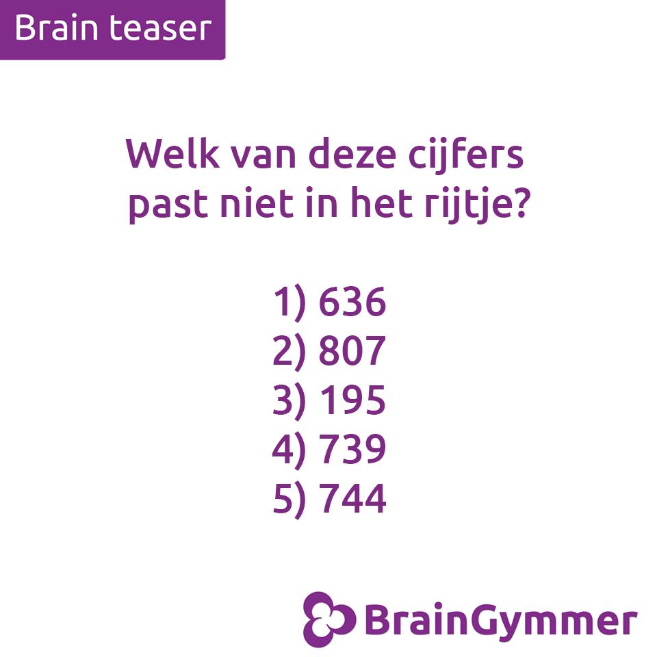 BrainGymmer hersenkraker oplossing welk cijfer past niet in het rijtje