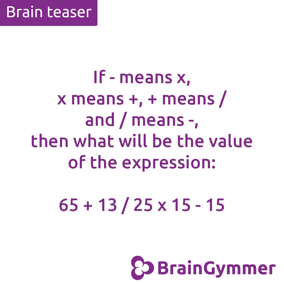 BrainGymmer brain teaser solution what is the value of the expression