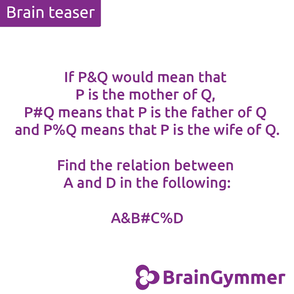 BrainGymmer brain teaser solution what is the relation