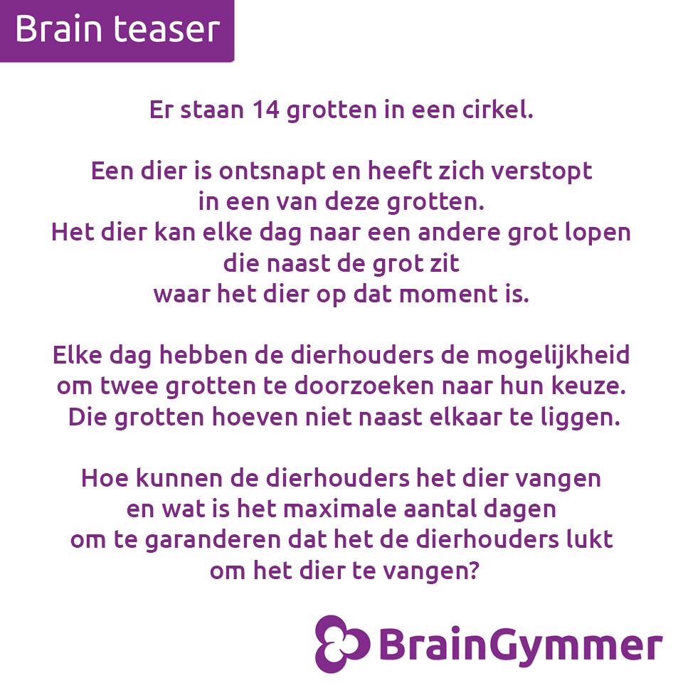 BrainGymmer hersenkraker oplossing hoe kunnen de dierhouders het dier vangen